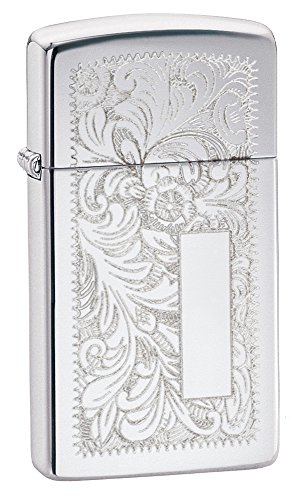 Zippo Slim High Polish Chrome Venetian Lighter