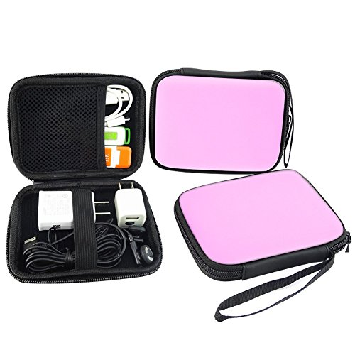 Elvam EVA Shockproof Waterproof Portable Hard Drive Case Bag / Cable Case Bag / USB Flash Drive Case Bag / Power Bank Case Bag / GPS Case and Digital Camera Case - Pink by Elvam