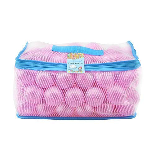 Lightaling 100pcs Pink Ocean Balls & Pit Balls Soft Plastic Phthalate & BPA Free Crush Proof - Reusable and Durable Storage Mesh Bag with Zipper by Lightaling (Image #7)