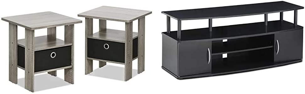 FURINNO Andrey End Table Nightstand Set, 2-Pack, French Oak Grey & Jaya Large Entertainment Stand for TV Up to 50 Inch, Blackwood
