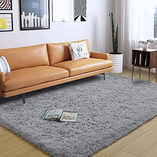 bedee Super Soft Living Room Rug, Large fluffy Area Rug Anti-Skid Faux Fur Rug Modern Shaggy Carpet for Living Room Bedroom (Grey, 80x150 cm)