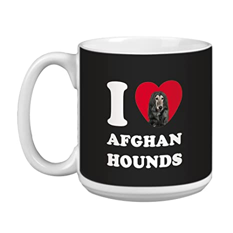 Tree Free Greetings XM29145 I Heart Afghan Hounds Artful Jumbo Mug Black 20-Ounce