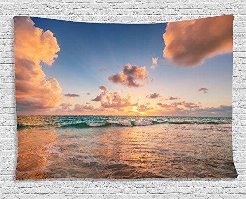 Exotic Tapestry - Ambesonne Apartment Decor Collection, Sunrise over Tropical Exotic Caribbean Sea Ocean Landscape Relax Rest Calm Theme, Bedroom Living Room Dorm Wall Hanging Tapestry, 80 X 60 Inches, Blue Soft Pink