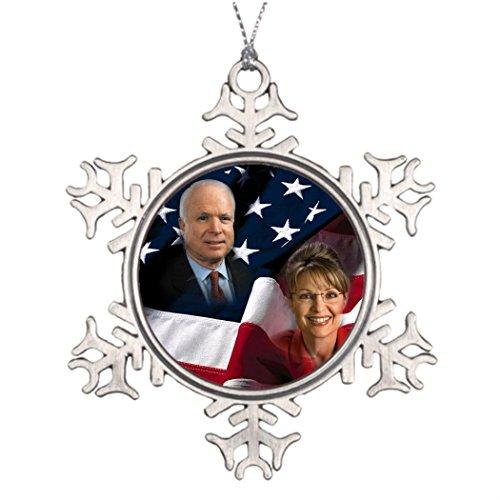 Butter Tisse Xmas Trees Decorated John McCain Sarah Palin 2008 Elections Customized Snowflake Ornaments ()