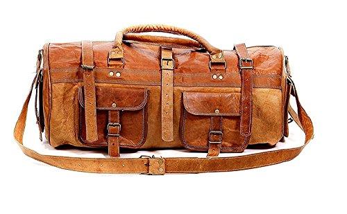 Brown Leather Duffel Bag Travel Weekender for Men Women him her Prime Sale  Him Her