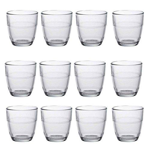 Duralex Gigogne Shot Glass Espresso Cups - 90ml Drinking Glasses - Pack of 12