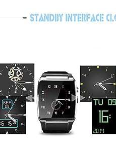Para Vestir - para - Smartphone - Skywin Reloj elegante - Bluetooth 2.0/Bluetooth 3.0/Bluetooth 4.0/WIFI -Llamadas con Manos , black-rubberband