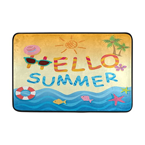 WXLIFE Tropical Hawaii Summer Beach Doormat Indoor Outdoor Mat Non Slip Polyester for Door Kitchen Bedroom Garden,15.7''x23.6'' by WXLIFE