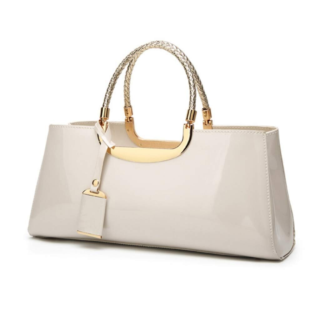 Ladies Handbag Ladies Handbag Fashion Patent Leather Glossy Casual Totes Shoulder Messenger Bag Wallet Women's Dinner Bag,White