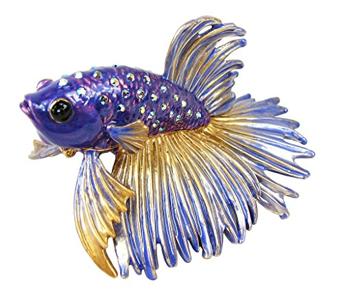 Lovely Rucinni Beta Fish Swarovski Crystal Trinket Box - Blue