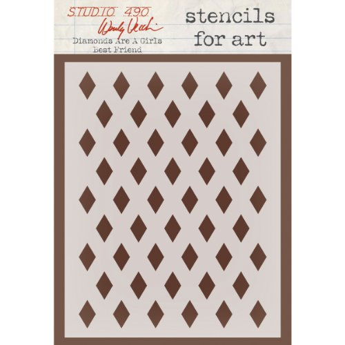Stampers Anonymous Wendy Vecchi Studio Stencil Collection, 6.5-Inch by 4.5-Inch, Diamonds Are a Girl's Best Friend