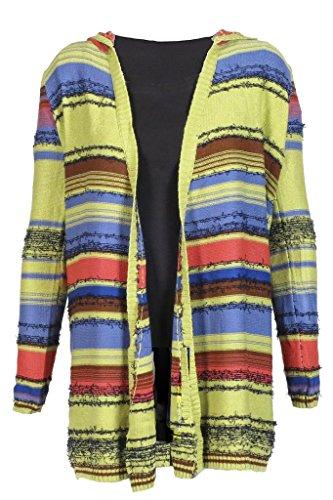 - Hem & Thread Chartreuse Stripe Hooded Cardigan Medium