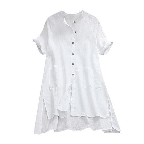 Longra Camicia da Donna in Lino con Bottoni Doppia Tasca Camicie Lunghe  Donna Maniche Lunghe Abito da Camicia Casual Vestito A-Line con Maniche  Corte Donna ... ff0d0c5461c
