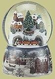 Roman Set of 2 Musical Winter Village Scene with Revolving Train Christmas Glitterdome 6.75''