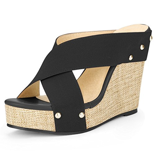 Allegra K Women's Platform Slide Wedge Sandals Black 7 B(M) US ()