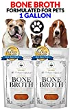 Premium Bone Broth For Pets - Organic Grassfed - Bone Broth For Dogs & Cats (Beef/Chicken /Turkey /No Veggies/ No Salt) 14-day Supply 1 Gallon (4) 32oz. bags- Non-GMO/Gluten-Free/Dairy-Free/Soy Free