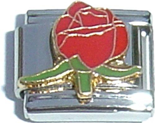 Red Flower Italian Charm - Flower 9mm Italian Charm