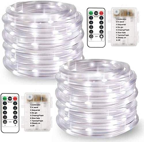 LiyuanQ Battery Operated String Lights, 2 Pack 100 LED Waterproof Rope String Lights Outdoor Fairy PVC Tube Lights 8 Modes 33FT Battery Rope Lights for Garden Party Christmas Decor Cool White