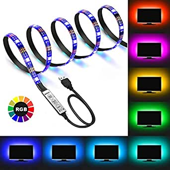 LED Strip Light Kit USB Powered - 3.3Ft 60LEDs with Mini Controller Flexible Waterproof RGB for TV/PC/Laptop/Background Lighting