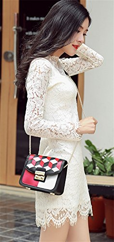 Mujer Femenino De Bolso Moda Red Portátil Bao La Simple Sra Diagonal Personalidad Paquete Lingge 41BCx