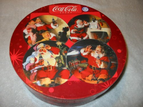 Holiday Portraits Coca-Cola Santa Stoneware Dessert Plates Set 4 by Sakura