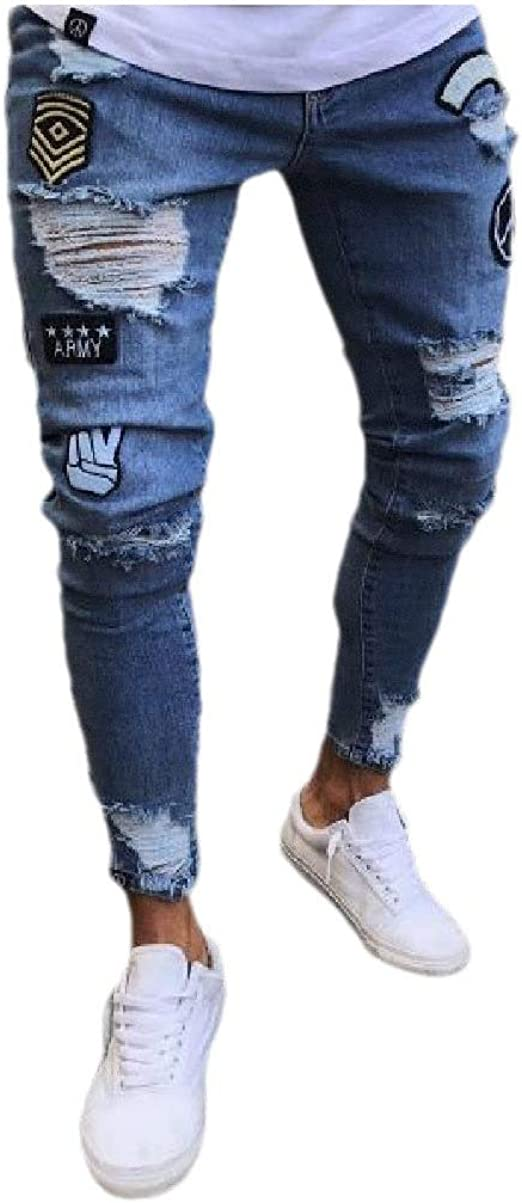 Nicellyer Mens Hole With Pocket Pure Color Zipper Cut Out Fashion Stretch Jean