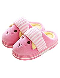 Auspicious beginning Boys Girls Winter Soft Cotton Slippers Warm Slip On Indoor/Outdoor Booties