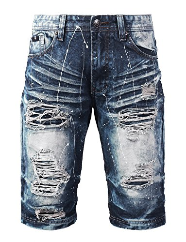 URBANCREWS Mens Hipster Hip Hop Paint Splashed Denim Shorts MDINDIGO, 38 by URBANCREWS