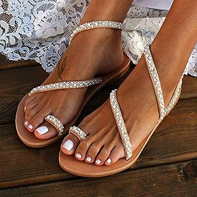 LYYJF Chanclas Sandalias Planas Sandalias de Mujer Zapatos Planos Sandalias con Perlas de Diamantes Romanos en la Playa de Verano Zapatos Abalorios