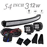 54inch led light bar - UNI FILTER DOT Approved 54 In 312W Curved LED Light Bar Offroad W/Rocker Switch Wiring Harness + 2PCS 4 In Pods Cube Driving Lights For Truck Ford Chevy Jeep Wrangler JK Chevrolet Silverado Pickup