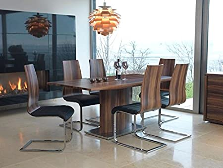 Messina Large Dining Table Set 6 Chairs Walnut Steel Contemporary
