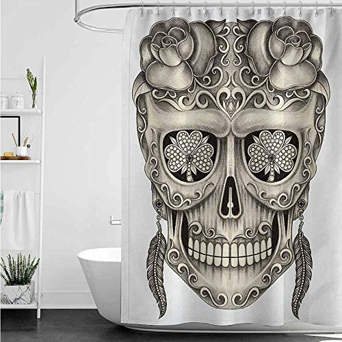 (home1love Polyester Shower Curtain,Day of The Dead Spanish Sugar Skull with Roses Dragonfly Eyes Feather and Earrings Artwork,Shower Curtain bar,W72x84L,Grey Ivory)