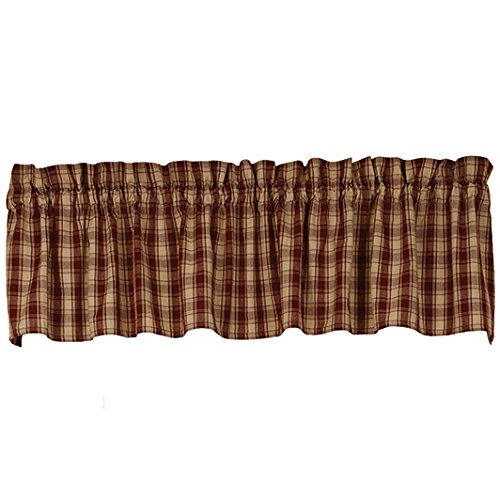 The Country House Collection Colonial Navy Star Check Cotton Valance (72x14) (Barn Red Lexington Valance)