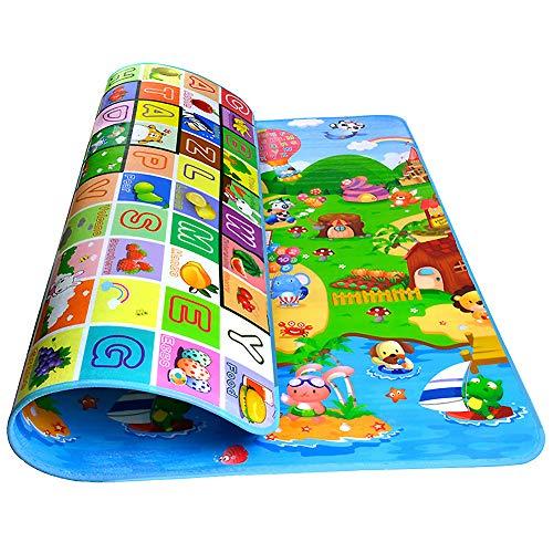 Swonuk Speelmat, opvouwbare, dubbelzijdige kruipdeken, grote anti-slip kruipmat voor baby's en peuters om op te spelen…