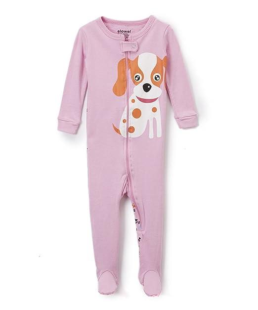 Elowel Ninas Perro Pijama con pies 100% Algodon (6M a 5 Anos