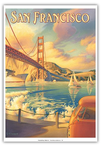 (San Francisco, California - Golden Gate Bridge - Marin Headlands - Vintage Style World Travel Poster by Kerne Erickson - Master Art Print - 13 x 19in)