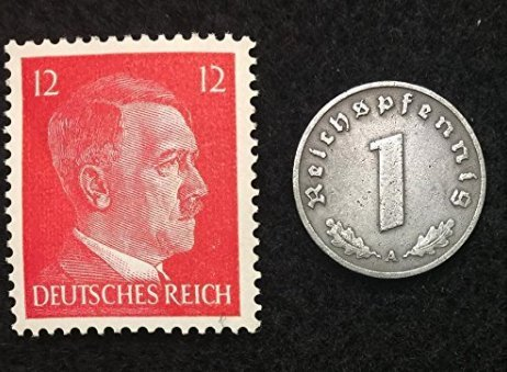 Rare Nazi Swastika 1 Reichspfennig German Coin World War Two WW2 with Hitler Head Stamp MNH