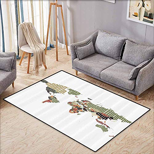 Pet Rug,Elementary Classroom Decor Collection,Russia Brasil Canada China USA Typographic Map Picture,Large Area mat,3'11