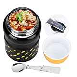 thermos with spoon - Uarter Stainless Steel Food Jar Multi-functional Lunch Thermos Portable Vacuum Insulated Food Container with Folding Spoon, Suitable for School, Work and Picnics, 550ml Capacity