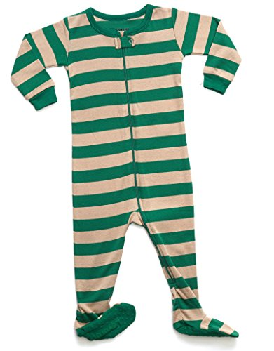 Green Footed Sleeper Pajamas (Leveret Organic Cotton Green/Beige Footed Pajama Sleeper 5 Years)