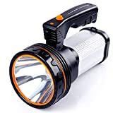 ALFLASH High Power Rechargeable LED Torch Lantern 7000 Lumens Super Bright Waterproof IPX4 Outdoor Handheld Spotlight Flashlight Portable LED searchlight,9000mAH(Silver)