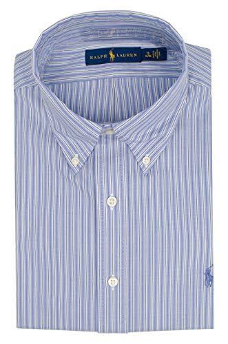 (Polo Ralph Lauren Men's Striped Dress Shirt-WB-15 1/2 (34-35) White Blue)