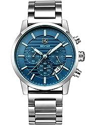 BENYAR Quartz Chronograph Waterproof Watches Business Sport Stainless Steel Band Strap Wrist Watch For Men (Steel...