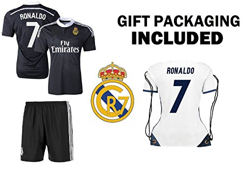 Non-Branded CR7 Cristiano Ronaldo #7 REAL Black Madrid Kids Soccer Jersey with shorts and Ronaldo #7 Jersey Bag Gift set (YL 10-12 years)