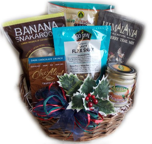 Raw Food Christmas Gift Basket Vegan & Gluten Free by Well Baskets