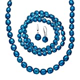 Indigo Freshwater Ringed Cultured Pearl Earring, Bracelets & Necklace Set in Sterling Silver