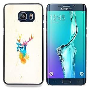 "Qstar Arte & diseño plástico duro Fundas Cover Cubre Hard Case Cover para Samsung Galaxy S6 Edge Plus / S6 Edge+ G928 (Elk ciervos Pimp"")"
