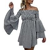 Hemlock Teen Off Shoulder Dress Skirts Women Holiday Short Beach Flare Sleeves Tunic Dress (XL, Black)