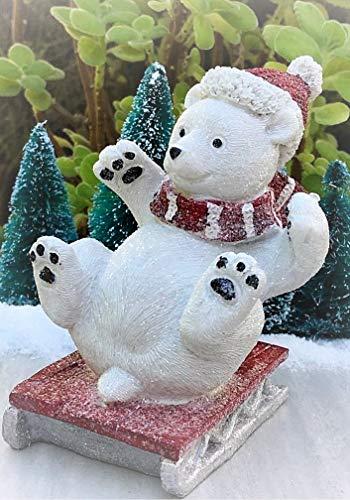 Mini Large North Pole Christmas Sledding Polar Bear Sled Figurine - Miniature Magic Scene Supplies Your Fairy Garden