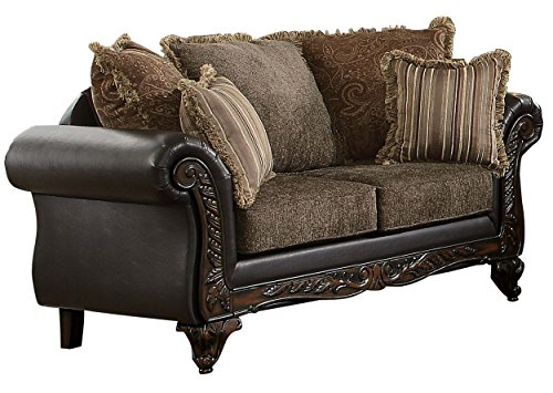 - Homelegance Thibodaux Two-Tone Loveseat, Brown Vinyl
